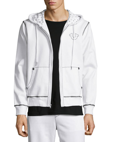 Contrast-Stitching Knit Hoodie, Optic White