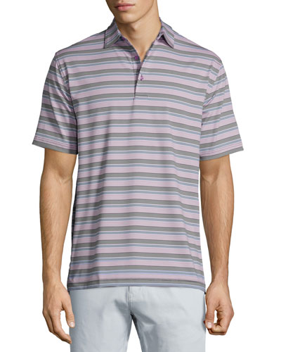 Tempest Striped Short-Sleeve Jersey Polo Shirt, Black/Purple