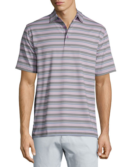Peter Millar Tempest Striped Short-Sleeve Jersey Polo Shirt,