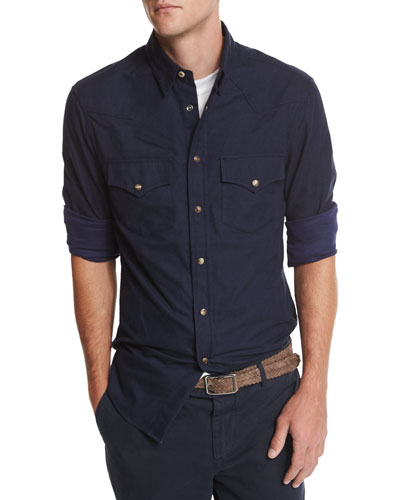 Flannel Western-Style Button-Down Shirt, Navy