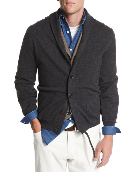 Brunello Cucinelli Shawl-Collar Button-Down Cardigan, Dark Gray