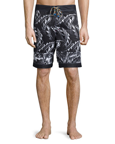 Maiden Voyage Printed Swim Trunks, Black