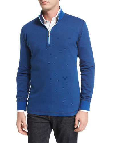 Alastor Mini-Chevron Half-Zip Sweater, Navy