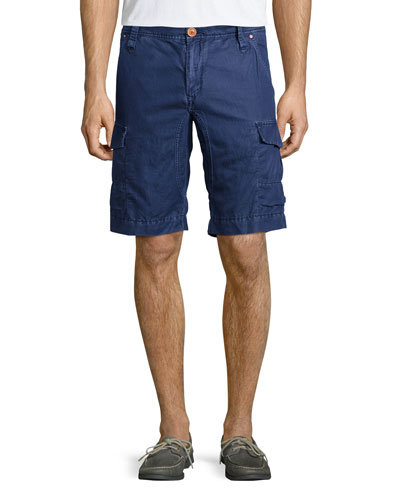 Hiker Linen/Cotton Cargo Shorts, Navy