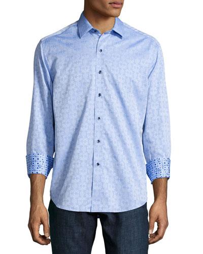 Robert Graham Cullen Jacquard Long-Sleeve Sport Shirt, Light