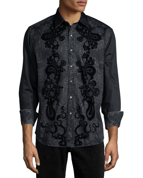 Robert Graham Canary Island Printed Long-Sleeve Sport Shirt,