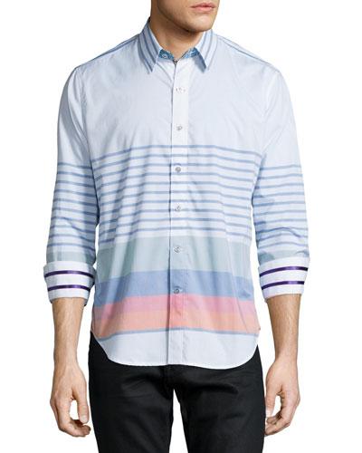 Multi-Stripe Long-Sleeve Sport Shirt, Multi
