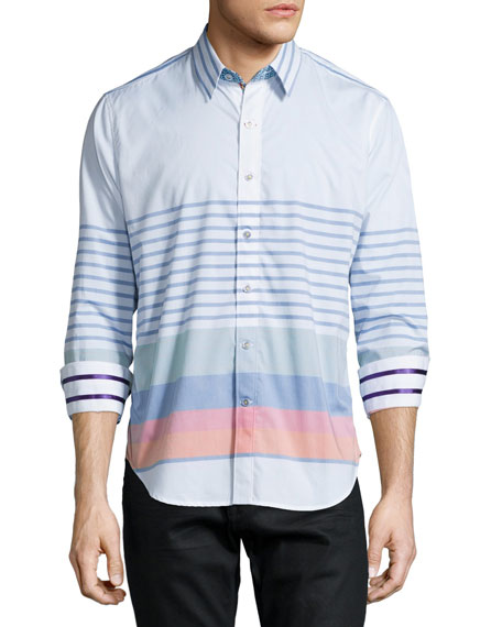 Robert Graham Multi-Stripe Long-Sleeve Sport Shirt, Multi
