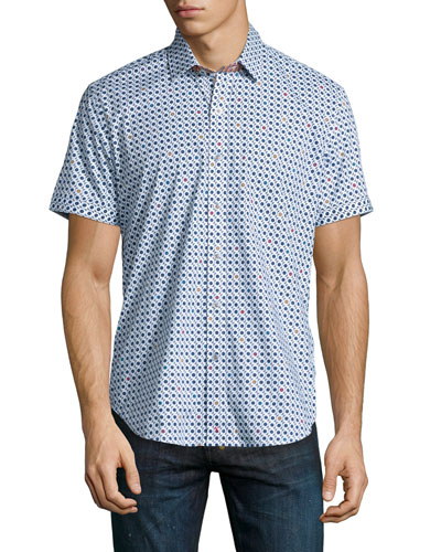 Francesco Circle-Print Short-Sleeve Shirt, Multi