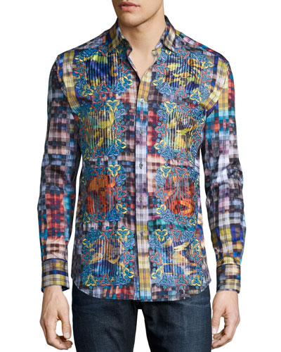 Limited Edition Plaid Sport Shirt with Embroidery, Multi