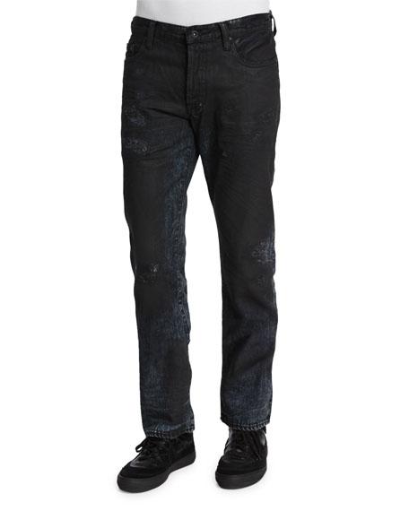 PRPS Resin-Coated Distressed Denim Jeans, Black