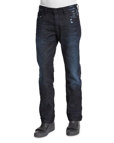 Dark Denim Jeans with Abrasion, Dark Blue