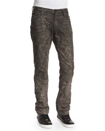 Printed Laser Denim Jeans, Black