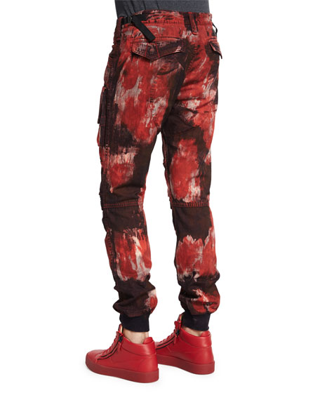 Bleach Out Paint-Brushed Denim Jeans, Red