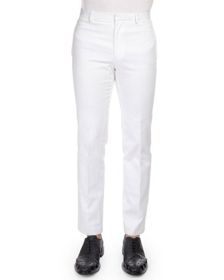 Givenchy Herringbone Cotton Flat-Front Pants, White