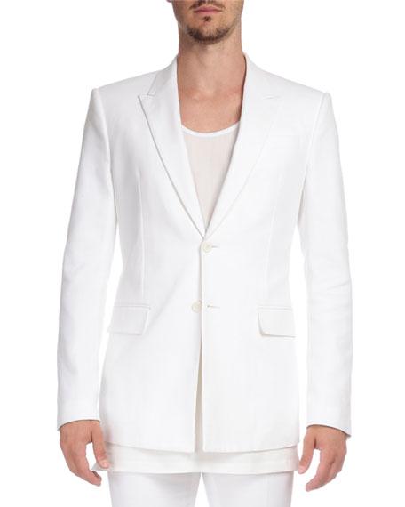 Givenchy Herringbone Peak-Lapel Two-Button Jacket, White