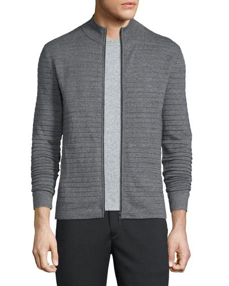 Theory Belamo Textured Stripe Zip Jacket, Gray Heather