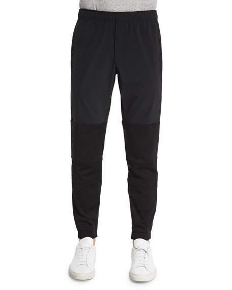 Theory Dryden Two-Tone Jogger Pants, Black