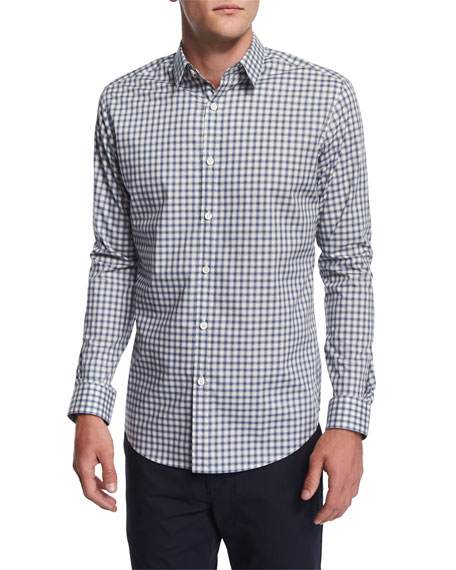 Theory Zack Plaid Button-Down Shirt, Open Sky Multi
