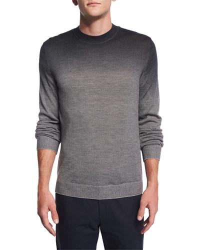 Remsey Dip-Dye Crewneck Sweater, Gray Heather