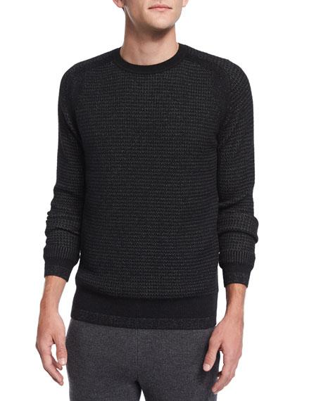 TheoryAster Textured Crewneck Sweater, Black