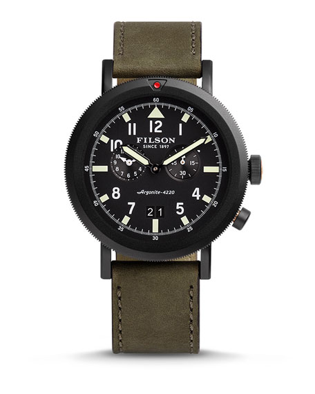 Filson 45.5mm Scout Dual-Time Watch, Black