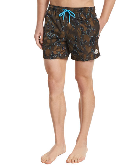 Moncler Camo-Print Swim Trunks, Multi