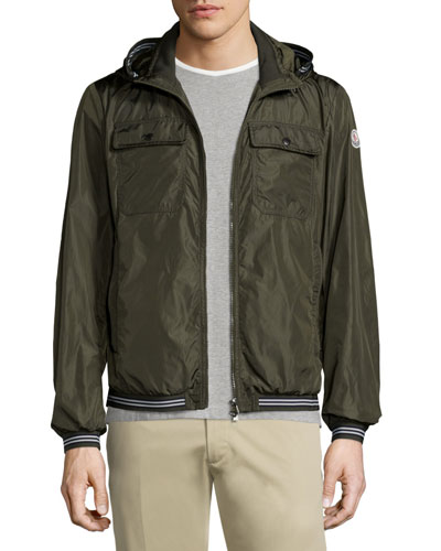 Jean Luc Hooded Nylon Jacket, Olive