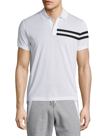 Moncler Side-Stripe Short-Sleeve Polo Shirt, White