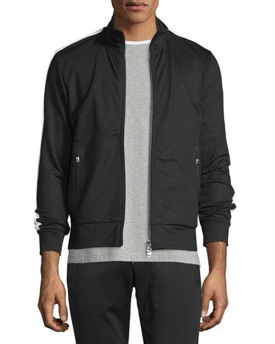 Zip-Up Track Jacket W/Side Stripe, Black