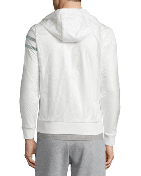 Nylon Zip-Up Hoodie, White