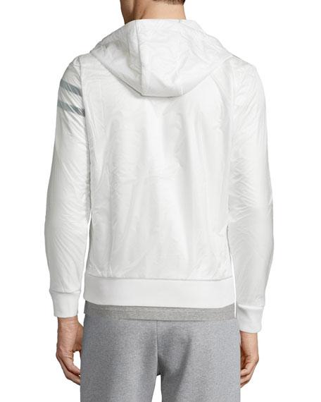 Nylon Zip-Up Hoodie, White