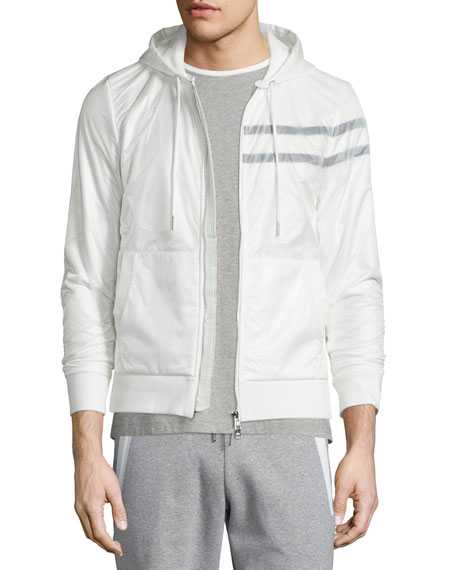 Moncler Nylon Zip-Up Hoodie, Tipped Crewneck Short-Sleeve Tee