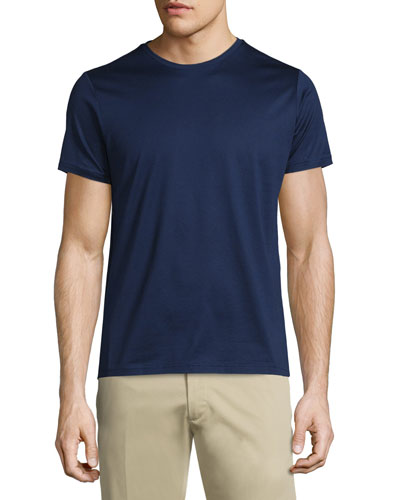 Side-Striped Short-Sleeve Crewneck T-Shirt, Navy