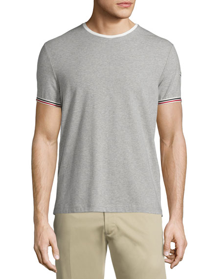 Moncler Tipped Crewneck Short-Sleeve T-Shirt, Gray