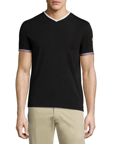 Tape-Tipped Short-Sleeve Tee, Black