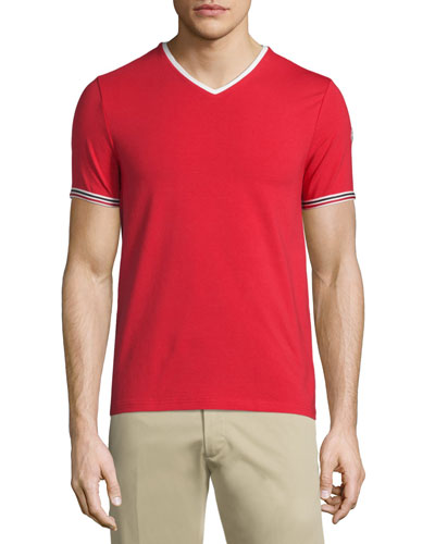 V-Neck Tape-Tipped Jersey Tee, Red