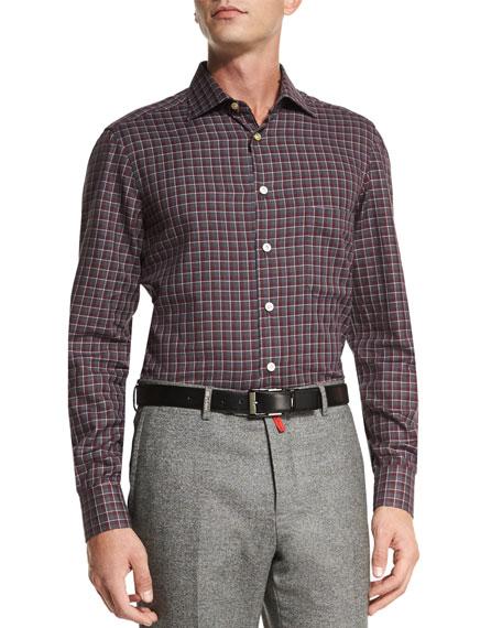 Kiton Quilted Napa Leather Jacket, Check Dress Shirt