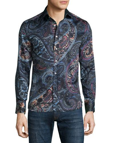 Multi Paisley-Print Long-Sleeve Sport Shirt, Black Multi