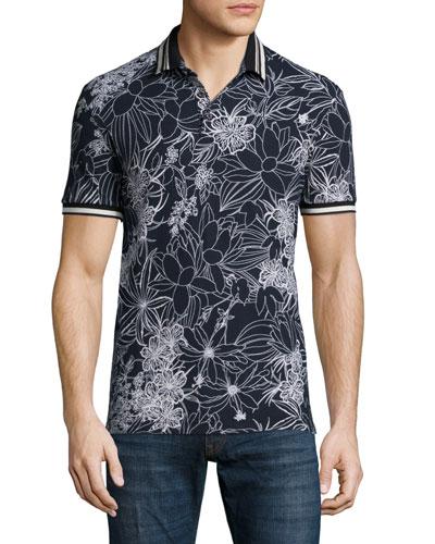 Floral-Print Short-Sleeve Pique Polo Shirt, Black/White