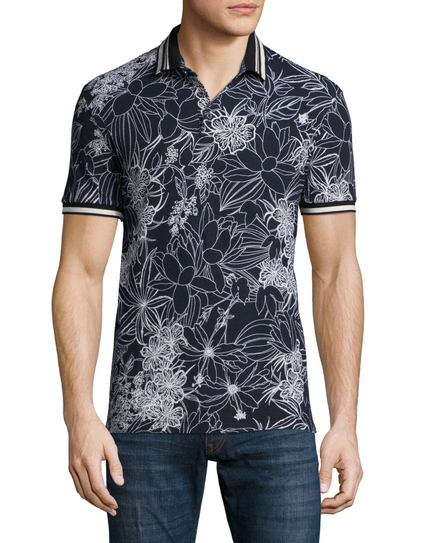 75b76594 Etro Floral-Print Short-Sleeve Pique Polo Shirt, Black/White ...