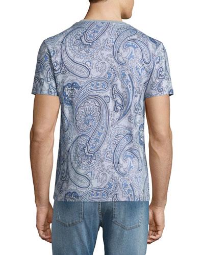 Paisley-Print V-Neck Tee, Gray/Blue