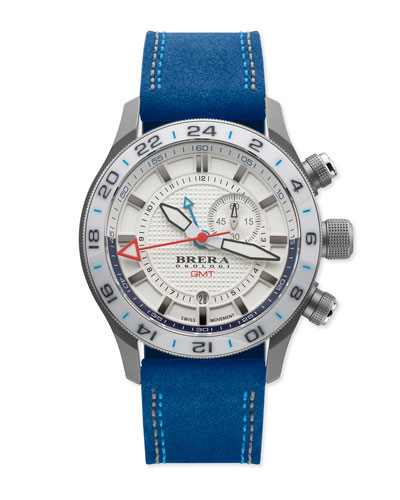 Eterno GMT Watch with Suede Strap, Silver/Blue
