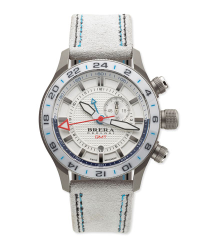 Eterno Orologi GMT Watch with Suede Strap, Silver/White