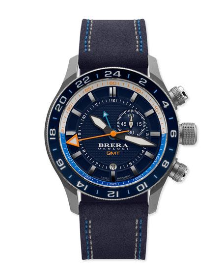 Brera Eterno Orologi GMT Watch with Suede Strap,