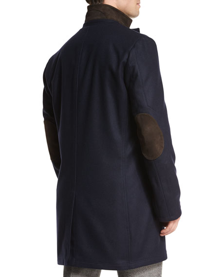Cashmere Single-Breasted Car Coat, Navy