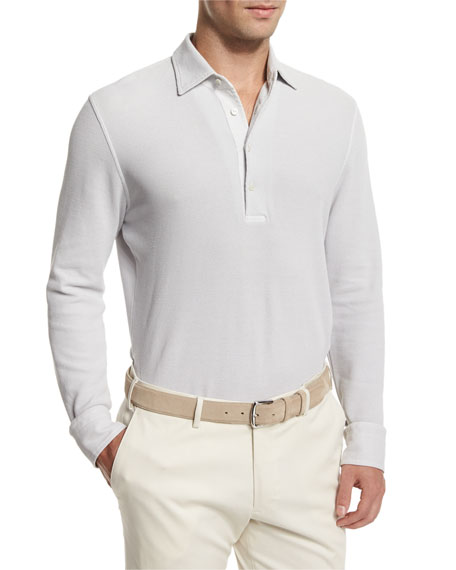 Loro Piana Huck Lace Long-Sleeve Polo Shirt, Silver Gray