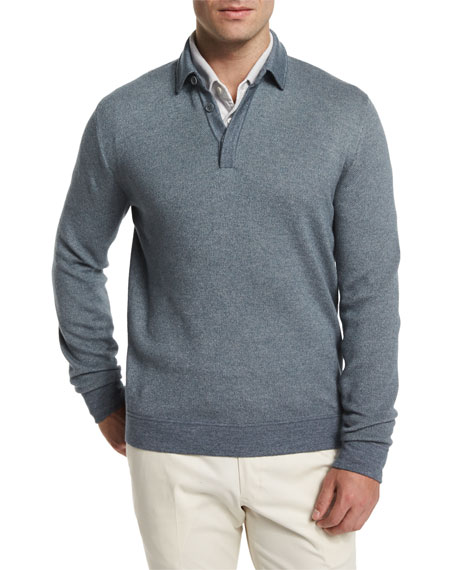 Loro Piana Cashmere-Silk Long-Sleeve Polo Sweater, Storm