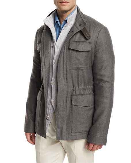 Loro Piana Traveler Shadow-Plaid Cashmere Field Jacket, Gray