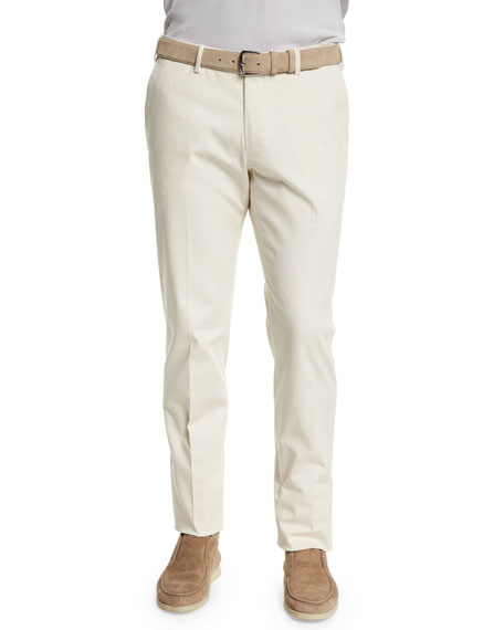 Loro Piana Stretch-Cotton Slim-Fit Trouser Pants, Oyster White